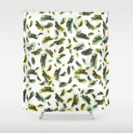 Coloured Falling Feathers Shower Curtain