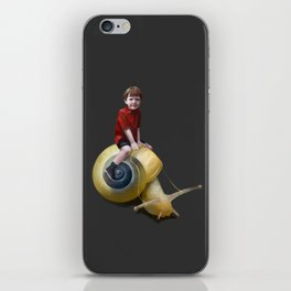 Boy on a snail iPhone Skin