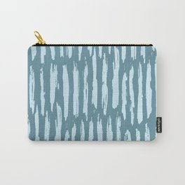 Vertical Dash Turquoise on Teal Blue Carry-All Pouch