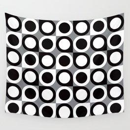Geometric Pattern #193 (black gray circles) Wall Tapestry