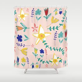 Floral The Tortoise and the Hare is one of Aesop Fables pink Shower Curtain