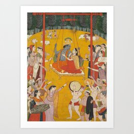 Hindola Raga 18th Century Classical Hindu Art Art Print