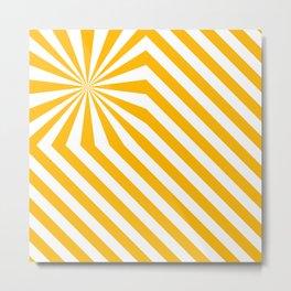 Stripes explosion - Yellow Metal Print