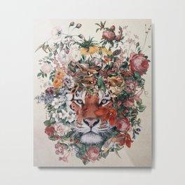 Flower Tiger Metal Print