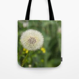 Dandelion in a spider's web Tote Bag