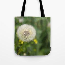 Dandelion in a spider's web Tote Bag