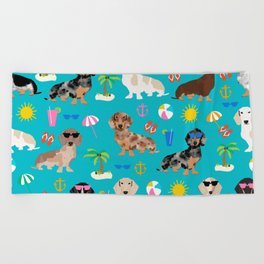 Dachshunds beach summer tropical vacation weener dogs doxie gifts Beach Towel