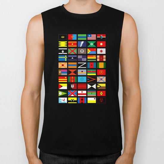 SH as flags Biker Tank