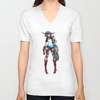cyberpunk V-neck T-shirts featuring Cyberpunk Monster Girl by lazylogic