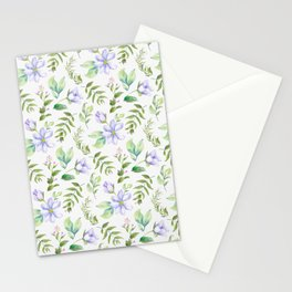 Watercolor lavender lilac green hand painted floral Stationery Cards