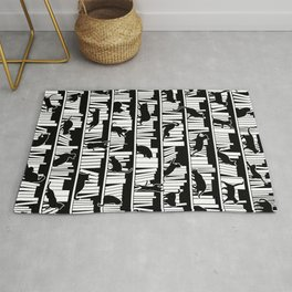 All I Need Is Books & Cats Bookish Book & Cat Lover Pattern Rug