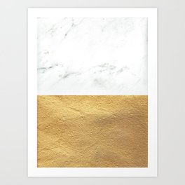 Color Blocked Gold & Marble Art Print