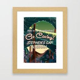 Stephens Gap Alabama Caving cartoon travel poster Framed Art Print
