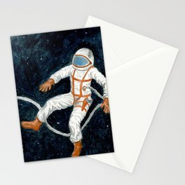 Astronaut Floating Through Space Stationery Cards