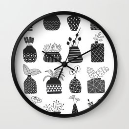 Ornamental Vases - Monochrome Wall Clock