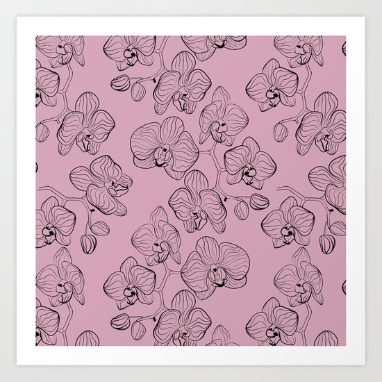 Retro . Orchid flowers on a pink background . Art Print