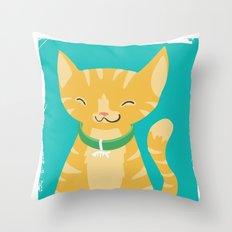 orange kitty Throw Pillow