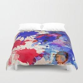 Blue & Red Color Splash Duvet Cover