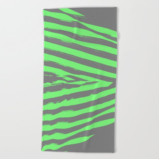 Green & Gray Stripes Beach Towel