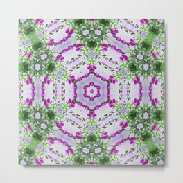 Purple Wildflower Kaleidoscope Art 1 Metal Print