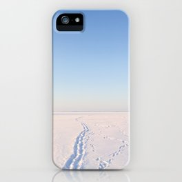 Footsteps in Snow on Lake Ice iPhone Case