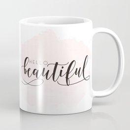Hello Beautiful Print - Hello Beautiful Wall Art - Pink Wall Art - Nursery Decor Coffee Mug