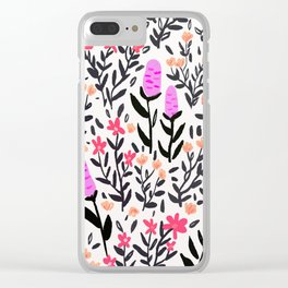 wild flowers hand draw floral pattern Clear iPhone Case