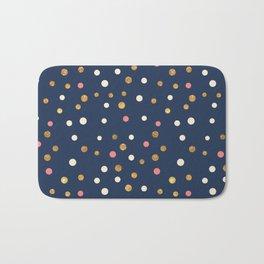 Hipster navy blue faux gold glitter modern polka dots Bath Mat