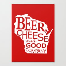 Red and White Beer, Cheese and Good Company Wisconsin Graphic Canvas Print