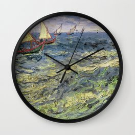 Fishing Boats at Saintes-Maries by Vincent van Gogh Wall Clock