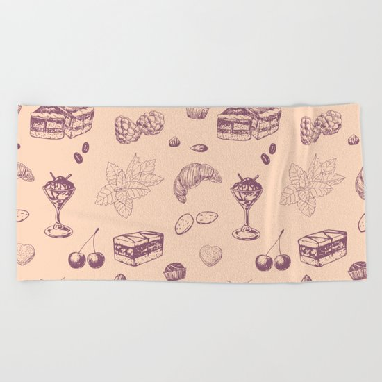 Sweet pattern with various desserts. Beach Towel