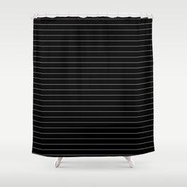 Black White Pinstripe Minimalist Shower Curtain