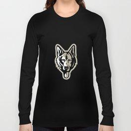 Alsatian Wolf Dog Head Mascot Long Sleeve T-shirt