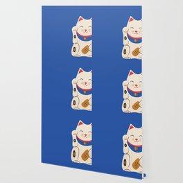 Blue Lucky Cat Maneki Neko Wallpaper