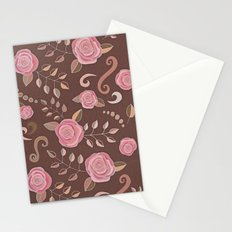 Coffee Roses - vintage rose pattern in pink and brown Stationery Cards