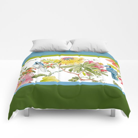 Bluejay Bird Day Floral Comforters