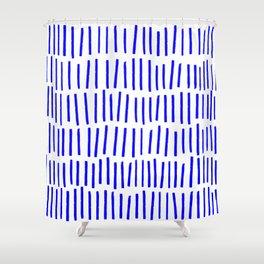 Blue Scandi Paint Print Shower Curtain