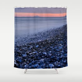 """""""Shiny rocks"""" At pink sunset. Spain, Gibraltar and Africa in one photo. Shower Curtain"""