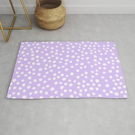 Lavender purple and white doodle dots Rug