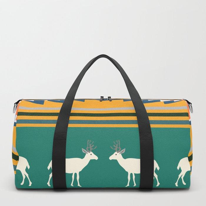 Ethnic Christmas pattern with deer Duffle Bag