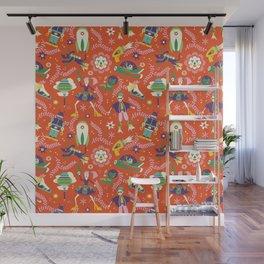 future folkart | orange Wall Mural
