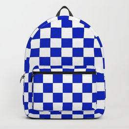 Cobalt Blue and White Checkerboard Pattern Backpack