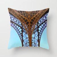 eiffel Throw Pillows featuring Eiffel by Camille Renee