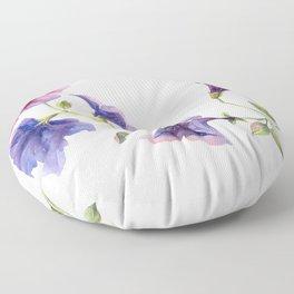 Watercolor branch of petunia. Floor Pillow