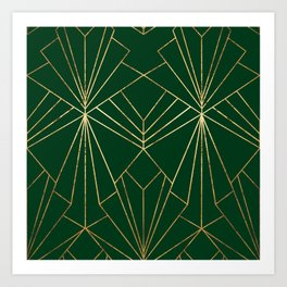 Art Deco in Gold & Green - Large Scale Art Print