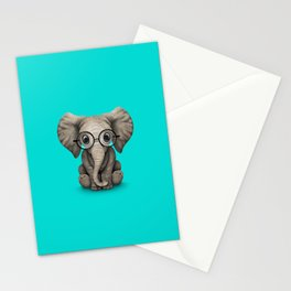 Cute Baby Elephant Calf with Reading Glasses on Blue Stationery Cards