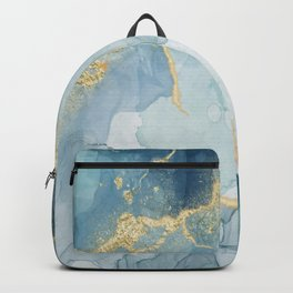 Dusty Blue Gold Accents Alcohol Ink  Backpack