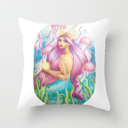 Mermaid princess and jellyfish friends Throw Pillow