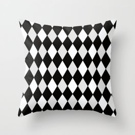 Harlequin Black and White and Gray Throw Pillow