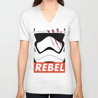 rebel V-neck T-shirts featuring REBEL by Bertoni Lee